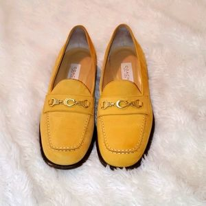 Coach mustard yellow loafers